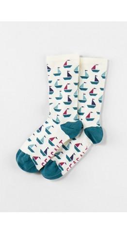 Seasalt Clothing Sailor Socks Geo Boats Ecru