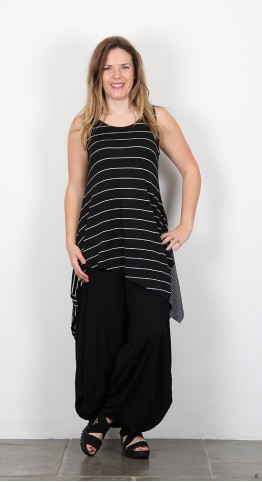 Alembika Sleeveless High Low Tunic Black Stripe