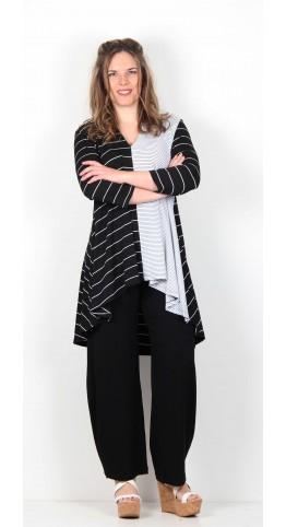 Alembika High Low Tunic Black Stripe