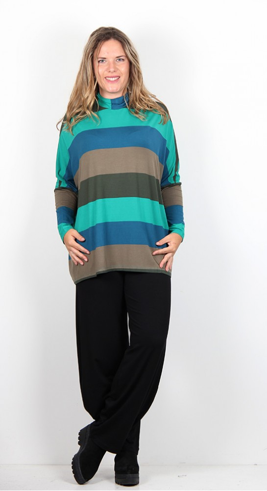 Alembika Turtle Neck Stripe Top Teal