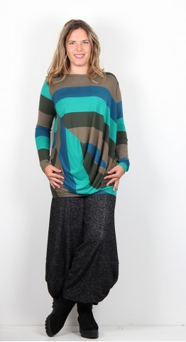 Alembike Drape Stripe Top Teal