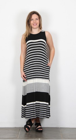 Alembika Striped Maxi Dress Black White