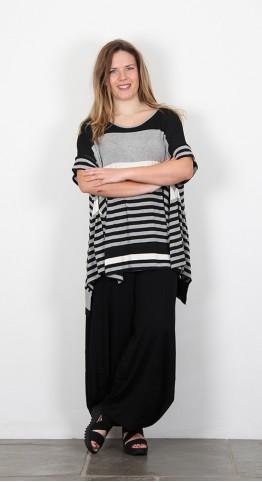 Alembika Jersey Striped Tunic Black White.