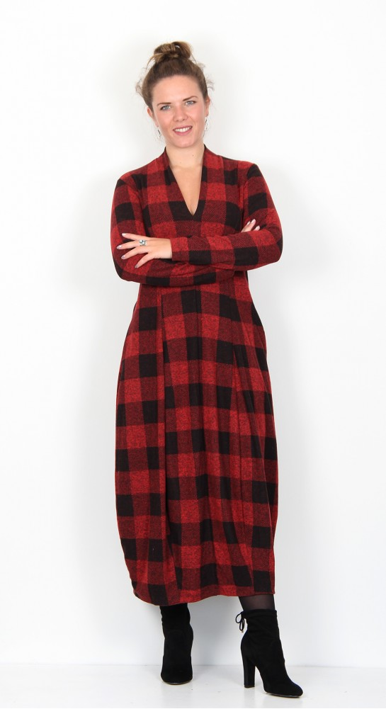 Alembika Checked Jersey Dress Scarlet