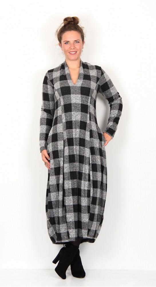 Alembika Checked Jersey Dress Grey