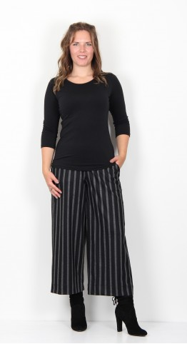 Alembika Cropped Wide Leg Trousers Black Grey Stripe