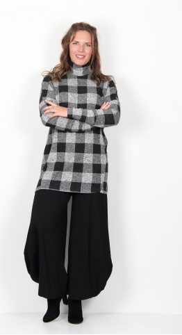 Alembika Checked Turtle Neck Tunic Grey