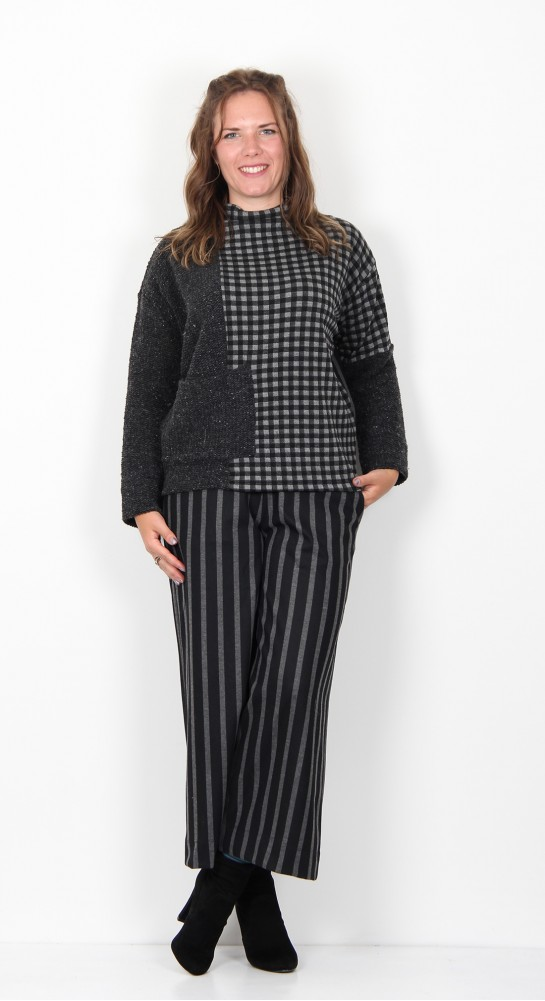 Alembika Funnel Neck Top Checked Charcoal