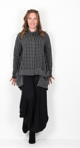 Alembika Checked Oversized Jersey Jacket Charcoal