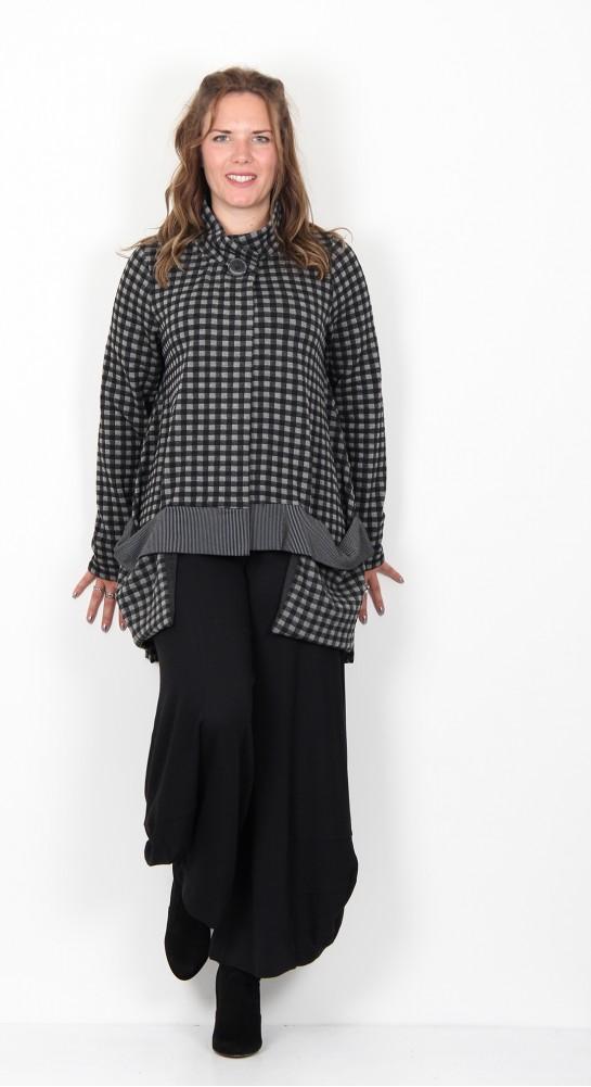 Alembika Checked Oversized Jersey Jacket Charcoal