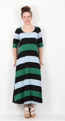 Alembika Stripe Short Sleeve Dress Black Emerald