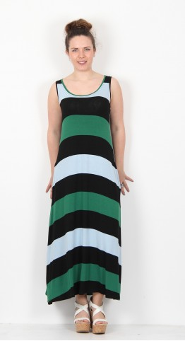 Alembika Stripe Sleeveless Dress Black Emerald