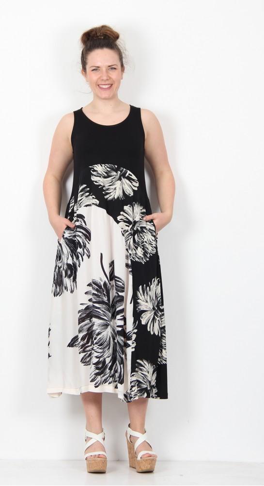 Alembika Sleeveless Floral Dress Black Ecru