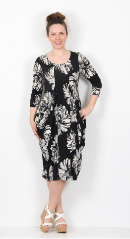 Alembika Large Flower Print Dress Black