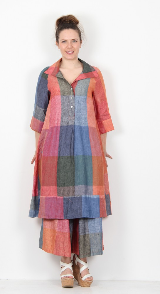 Alembika Check Linen Dress Pomegranite