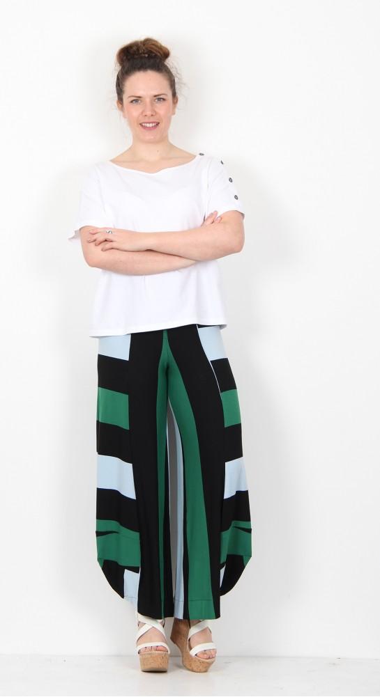 Alembika Lantern Pant Black Emerald Stripe