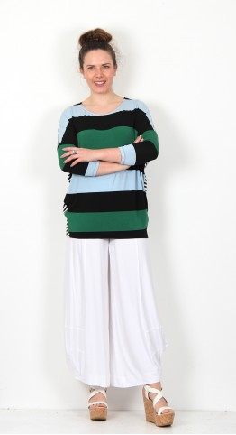 Alembika Mixed Stripe Top Black Emerald