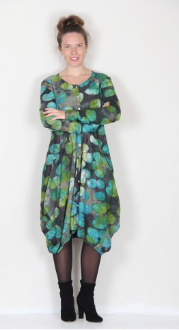 Alembika Rouched Hem Bubble Shirt Dress Emerald