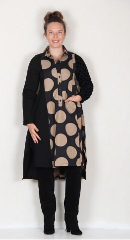 Alembika Giant Circles Shirt Dress Black Camel