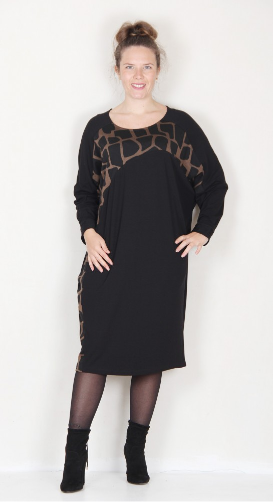 Alembika Batwing Accent Panel Slouch Dress Sepia