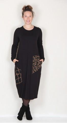 Alembika Animal Block Bubble Dress Sepia