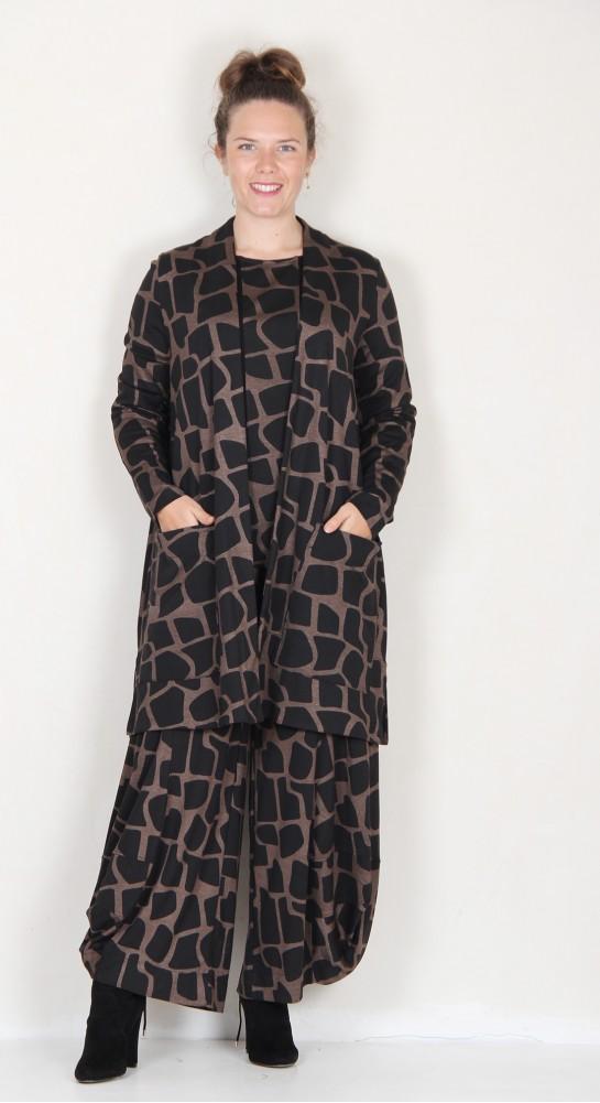 Alembika Giraffe Print Edge To Edge Jacket Sepia