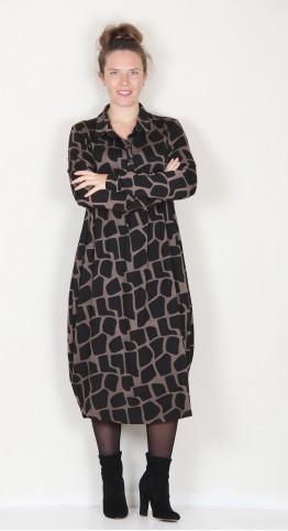 Alembika Giraffe Print Shirt Dress Sepia