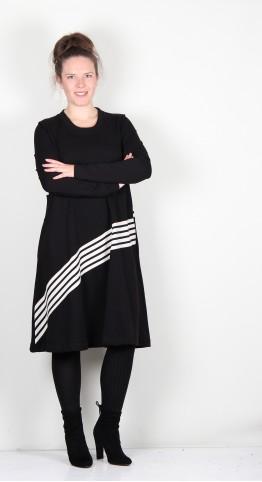 Alembika Urban French Terry A-Line Neck Dress Black/Off White Stripe