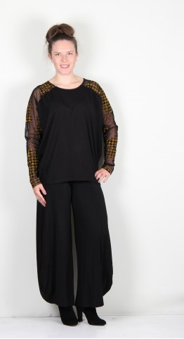 Alembika Floral Check Relaxed Top Black/Yellow