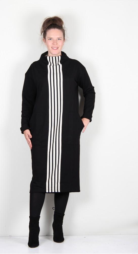 Alembika Urban French Terry Funnel Neck Dress Black/Off White Stripe