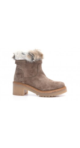 Alpe Team Fur Top Suede Ankle Boot Mole