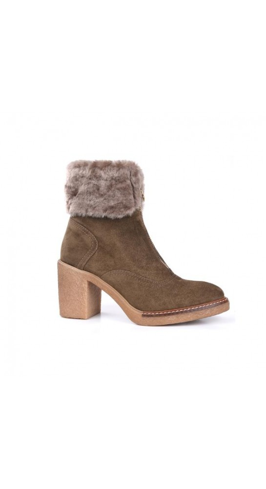 Alpe Team Fur Cuff Zip Front Ankle Boot Tan