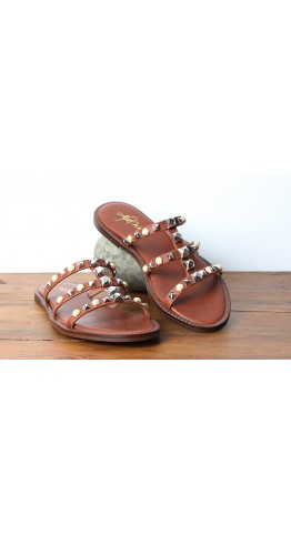 Alpe Leather Slide Roman Sandal DarkTan