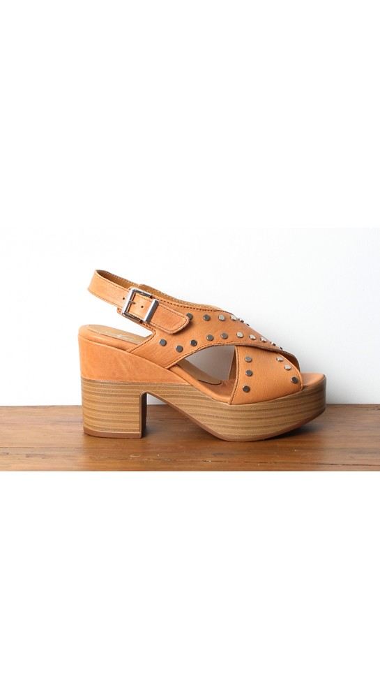 Alpe Stacked Leather Sandal Tan
