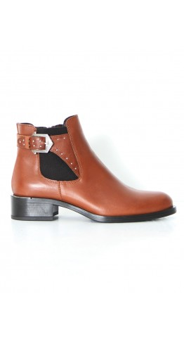 Alpe Side Buckle Ankle Boot Brandy