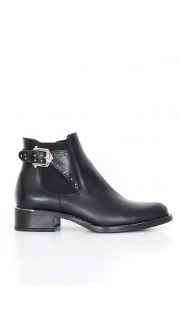 Alpe Side Buckle Ankle Boot Black