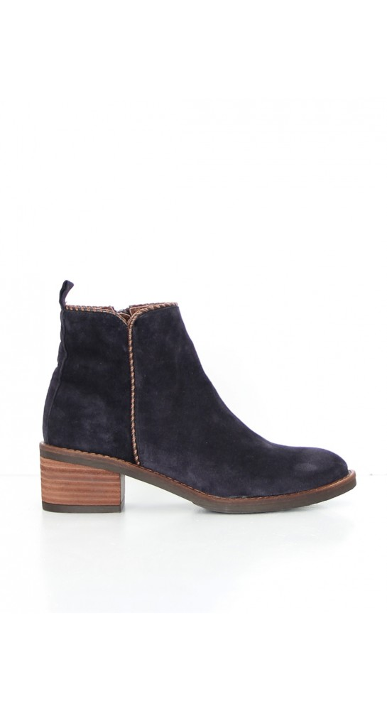 Alpe Side Overstitch Suede Ankle Boot Navy