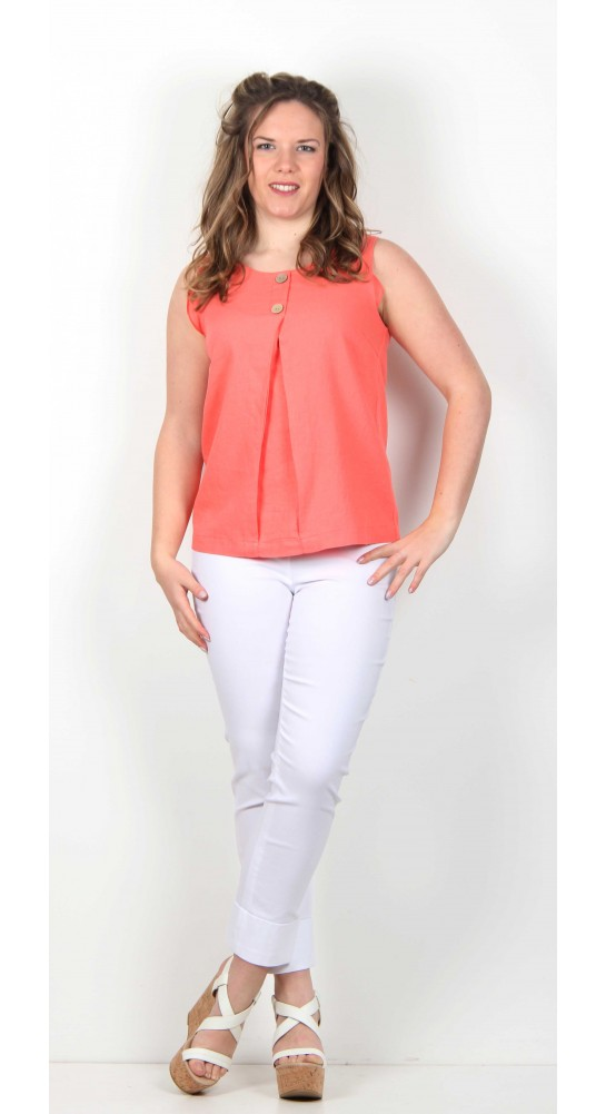 Soft B Sleeveless Linen Top Red Coral