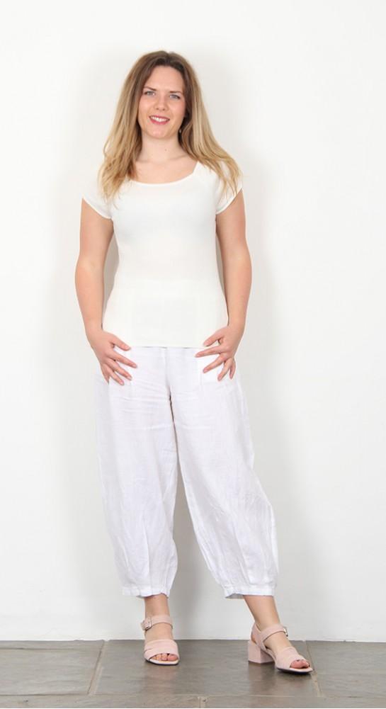 BlueBerry Italia Linen Trouser White