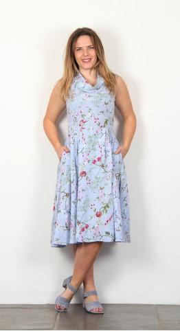 BlueBerry Italia Fit & Flare Cowl Neck Dress Sky