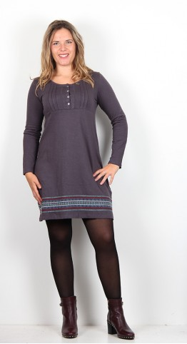 Brakeburn Embroidered Henley Dress Charcoal