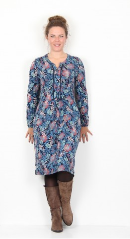 Brakeburn Falling Leaf Dress Navy