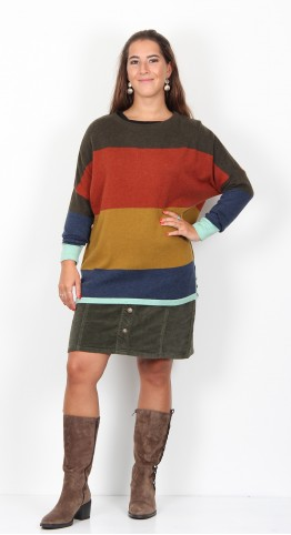 Brakeburn Button Jumper Multi Stripe