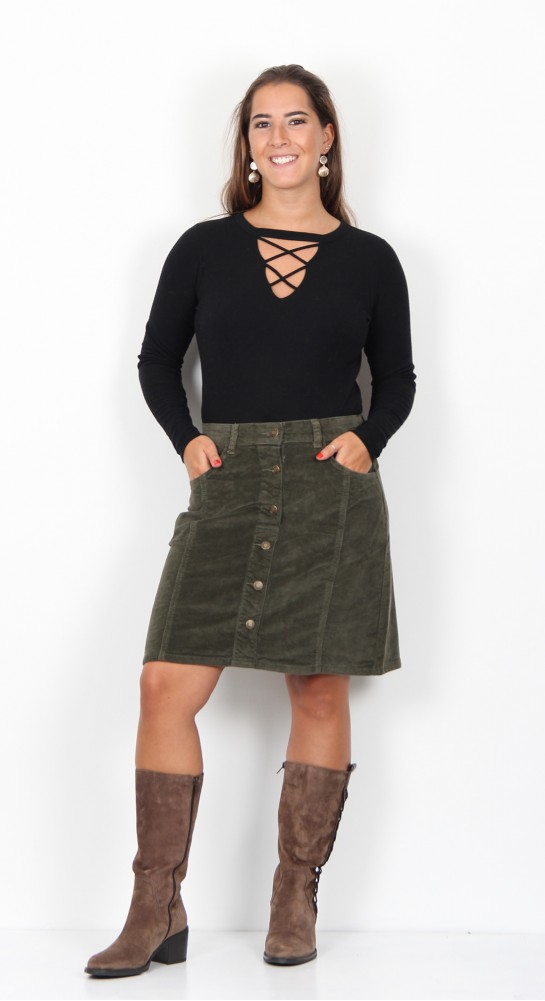 Brakeburn Cord Button Through Skirt Moss