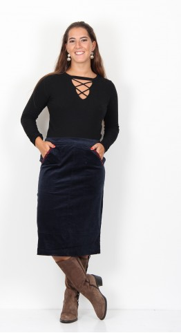 Brakeburn Winter Anemone Velvet Skirt Navy