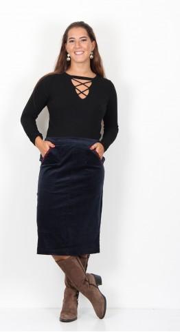 Brakeburn Winter Anemone Velvet Skirt Navy