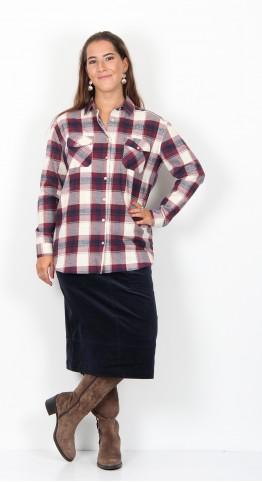 Brakeburn Check Flannel Shirt Cream Berry