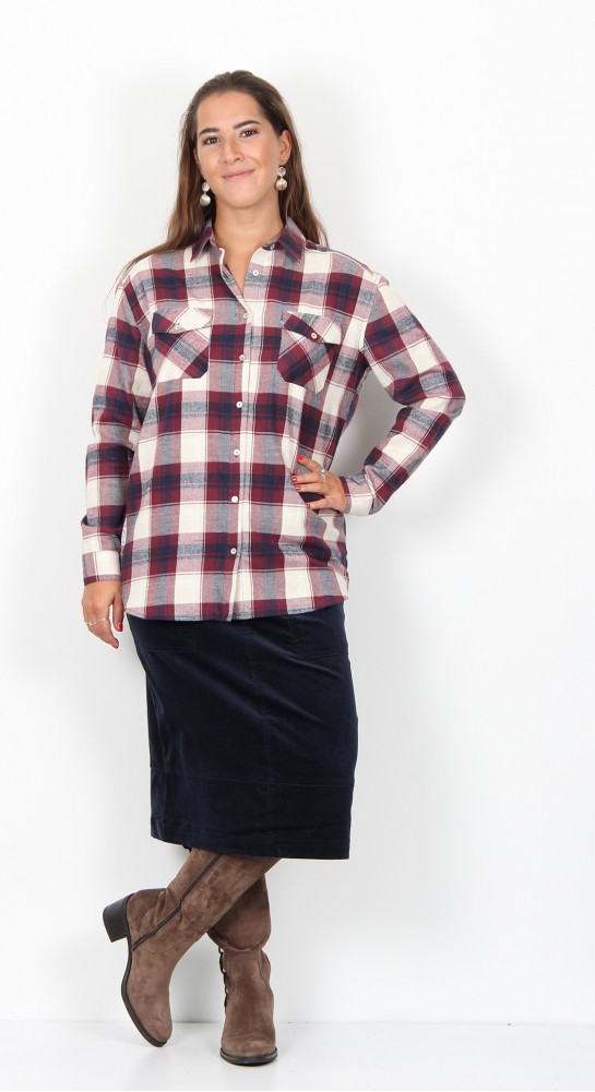 Brakeburn Check Flannel Shirt Cream Berry