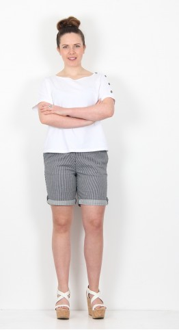 Brakeburn Turn Up Shorts Blue Stripe