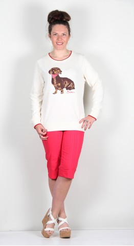 Brakeburn Sausage Dog Crew Neck Sweatshirt White